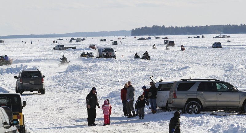Mother Nature provides the ice and families provide the enthusiasm for the annual Sebago Lake Derby, which is scheduled to take place this winter on Feb. 16 and 17. Jordan Bay on Sebago Lake was a prime starting point for the 2010 event.