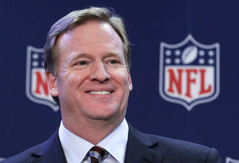 NFL commissioner Roger Goodell spoke of positive protests Monday during an appearance at University of Phoenix Stadium.