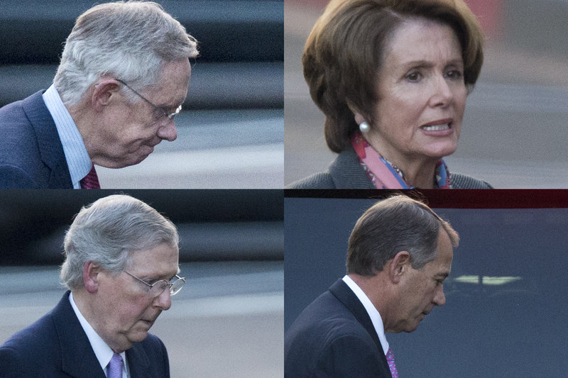 In a combination of photos, congressional leaders Harry Reid, D-Nev., Nancy Pelosi, D-Calif., Mitch McConnell, R-Ky., and John Boehner, R-Ohio, leave the White House separately Friday following a closed-door meeting with President Obama in an effort to avert the fiscal cliff. Reid, the Senate majority leader, and McConnell, the Senate minority leader, were racing Saturday to forge a deal in time for votes Sunday night by both houses of Congress.