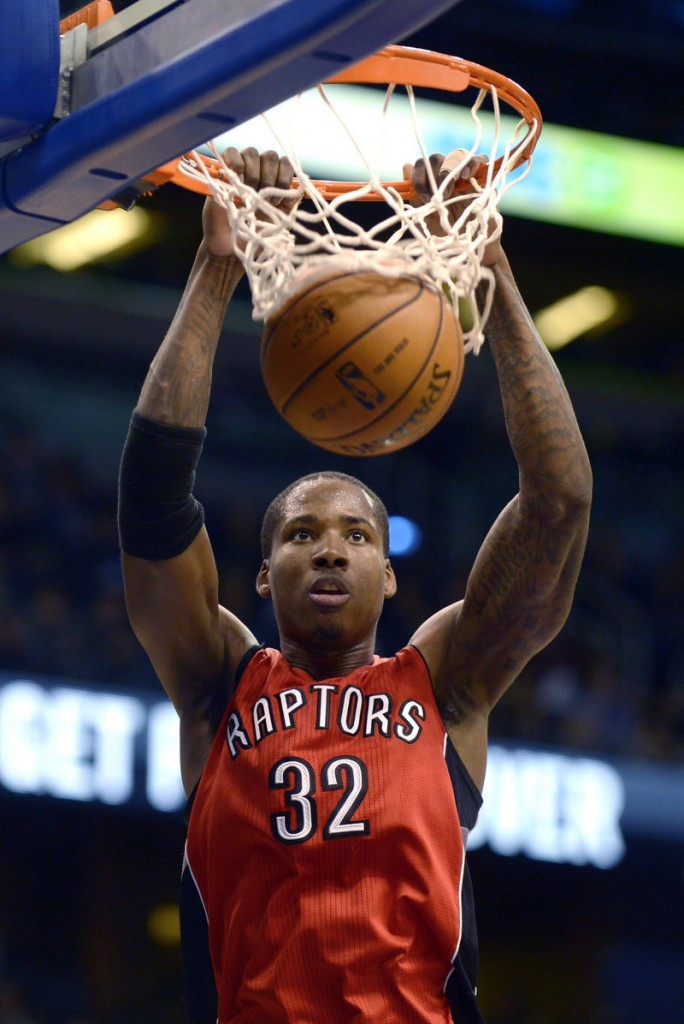 Toronto's Ed Davis finishes a dunk during the Raptors' 123-88 win over the Orlando Magic at Orlando, Fla. Davis, a rookie, had 18 points and seven rebounds.