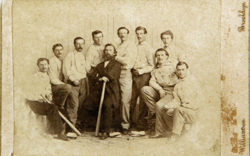 This 1865 card of the Brooklyn Atlantics was found by a picker in Baileyville and will be auctioned off at the Saco River Auction Company on February 6. There are only two of the cards known to exist and the other is in the Library of Congress.