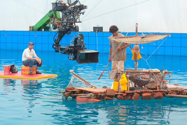 "Steven Callahan served as marine consultant on the movie ""Life of Pi."" Steve Callahan of Lamoine, in cap, working on filming of ""Life of Pi."""
