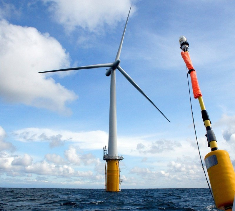 Norwegian company Statoil is considering a test plan for four floating wind turbines off Boothbay Harbor. They'd look similar to this Hywind test turbine, now producing power off Norway.