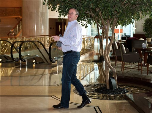 Google's executive chairman, Eric Schmidt, walks away from a hotel lounge in Beijing on Monday after a meeting with former New Mexico Gov. Bill Richardson. Schmidt, who is part of a delegation led by Richardson, is scheduled to leave Monday on a commercial flight bound for North Korea, a country considered to have the world's most restrictive Internet policies.