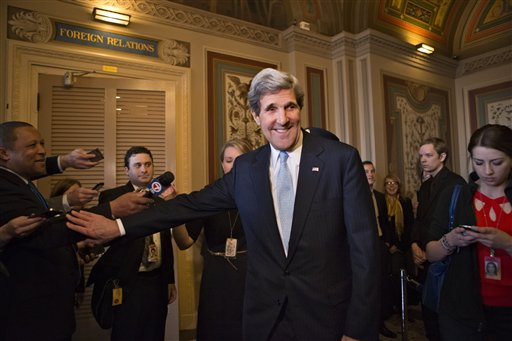 Sen. John Kerry, D-Mass., emerges after a unanimous vote by the Senate Foreign Relations Committee approving him to become America's next top diplomat, replacing Secretary of State Hillary Rodham Clinton.