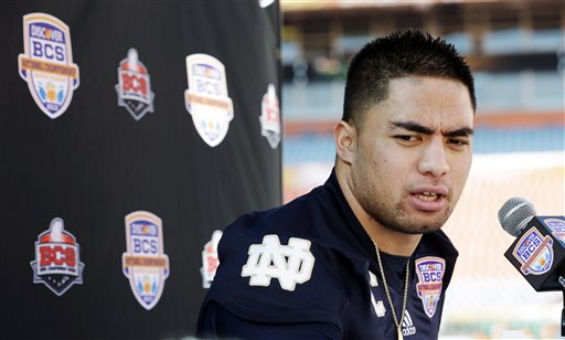 In this Jan. 5, 2013, photo, Notre Dame linebacker Manti Te'o answers a question during media day for the BCS national championship NCAA college football game in Miami.