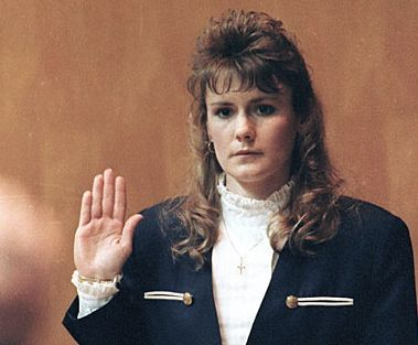 Pamela Smart, then 23, takes the oath in March 1991 in Superior Court in Exeter, N.H. She is serving a sentence of life without parole after being convicted of recruiting William Flynn, her teenage lover, and his friends to murder her husband.