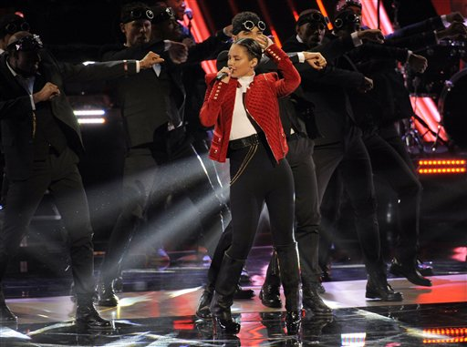 Alicia Keys performs at the People's Choice Awards on Jan. 9, 2013, in Los Angeles.