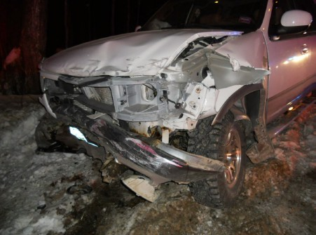 This image shows the Ford F-150 truck operated by operated by 35-year-old Angie Horler of New Gloucester. The truck collided with a car driven by 19-year-old Chynna Blaney of Raymond Thursday, Jan. 3, 2013.