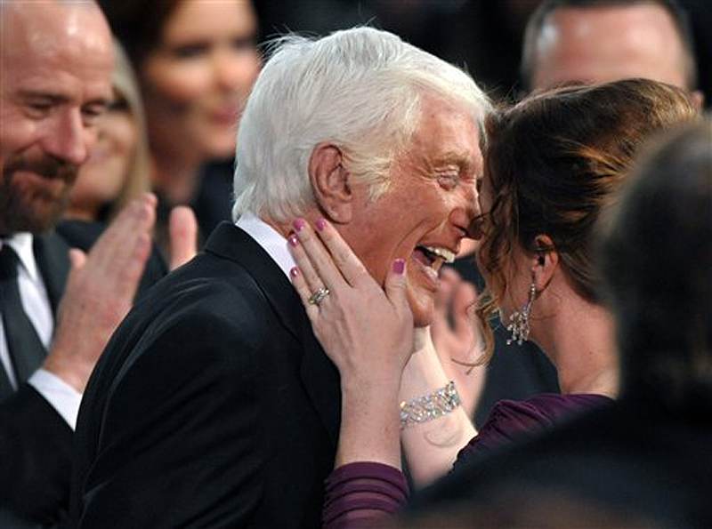 Dick Van Dyke celebrates winning the Screen Actors Guild Life Achievement Award with his wife, Arlene Silver, at the 19th Annual Screen Actors Guild Awards in Los Angeles on Sunday.