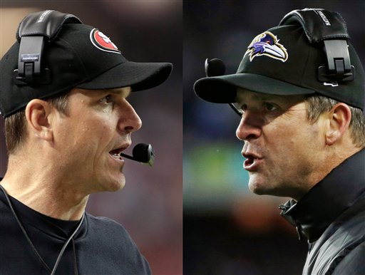 San Francisco 49ers head coach Jim Harbaugh, left, in Atlanta, and Baltimore Ravens head coach John Harbaugh in Foxborough, Mass., during their NFL football conference championship games. Get ready for the Brother Bowl. It'll be big brother John's Baltimore Ravens (13-6) playing little brother Jim's San Francisco 49ers (13-4-1).