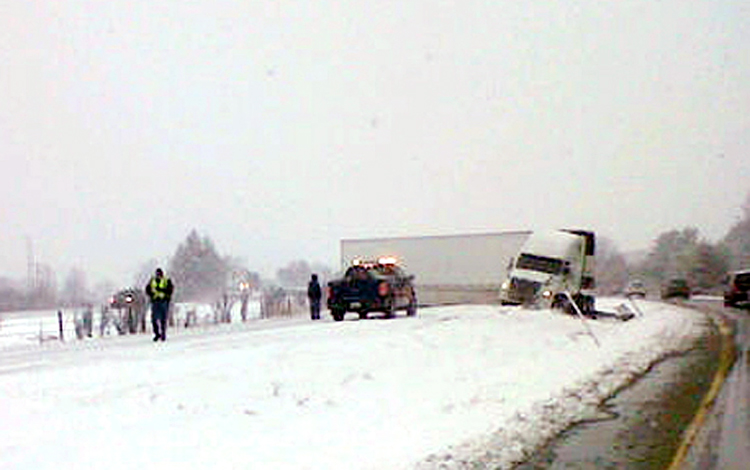 Maine State Police photo of tractor-trailer blocking southbound lanes of I-295 in Yarmouth.