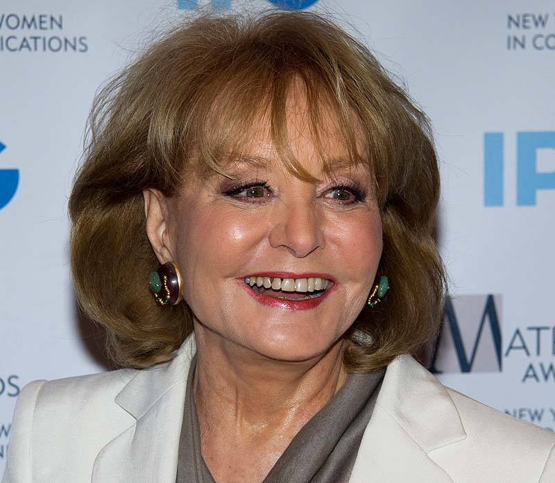 Veteran ABC newswoman Barbara Walters fell at an inauguration party Saturday night in Washington and has been hospitalized, according to an ABC News spokesman.