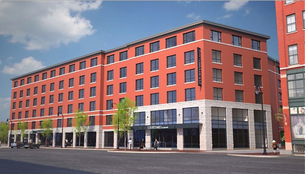 An artist's rendering of the proposed Courtyard by Marriott planned for a site at 321 Commercial St. now occupied by a dirt parking lot.