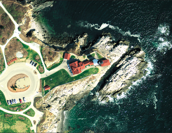 Portland Head Light in Cape Elizabeth is depicted in orthoimagery from a flight in spring 2012.