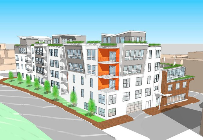 An architectural rendering shows the Newbury Lofts proposal for 24 condominiums in a five-story building on Portland's Franklin Street.