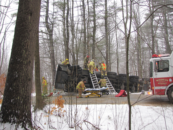 This contributed photo show emergency personnel on the scene of a truck rollover in Windham.