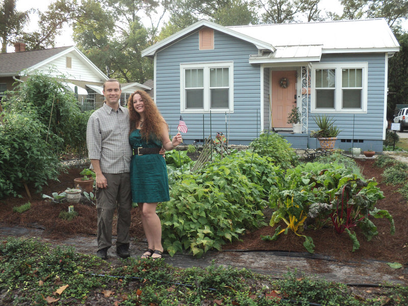 Jason and Jennifer Helvenston of Orlando, Fla., were ordered to remove this front-yard vegetable garden by local officials who said it was in violation of city code. Kitchen Gardeners International, based in Maine, launched an online campaign to help them, and within 48 hours the city announced that it was reversing its decision and that the Helvenstons would be allowed to keep their garden.