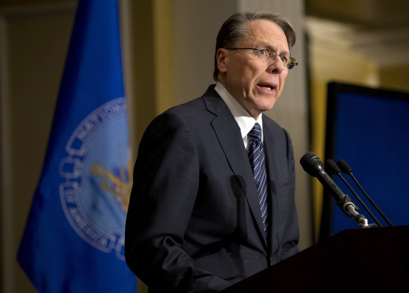 "Wayne LaPierre, National Rifle Association CEO, holds a news conference Dec. 21 in response to the school shooting in Newtown, Conn. ""Rifles configured to fire hundreds of bullets in less than a minute"" don't belong in the hands of private citizens, readers say."