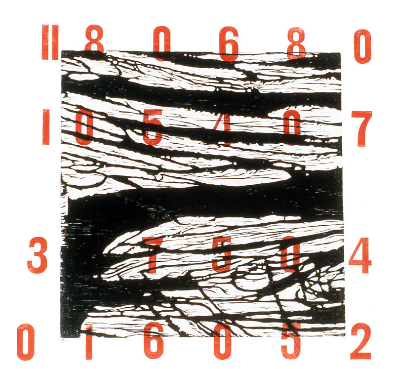 """Tyranny of Numbers,"""" woodcut and metal type; created in 2001 by Dorothy Schwartz."""