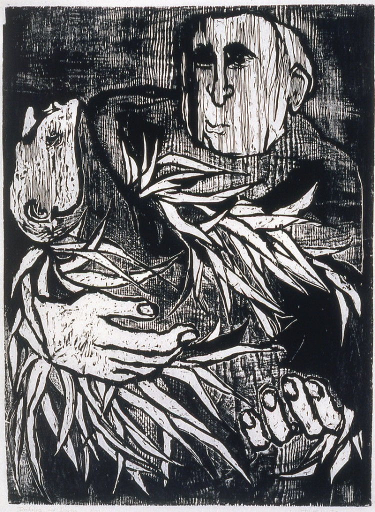 """""""Daedalus and Icarus,"""" woodcut, 1957."""
