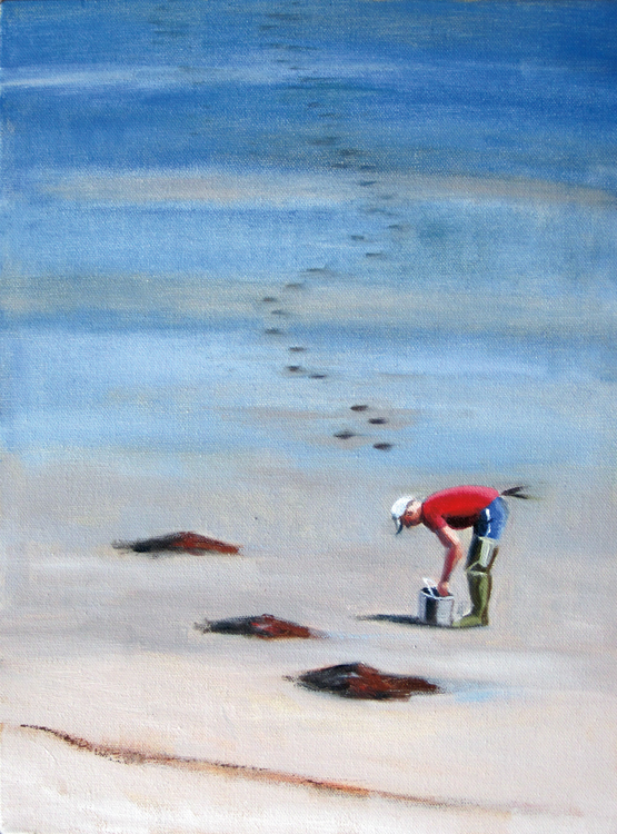 """Clammer"" by Leslie Anderson is among the 28 paintings she hopes will inspire ""Summer Stories."""