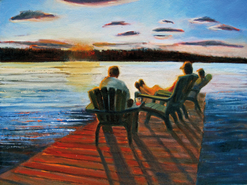 """Last Night at the Lake"" by Leslie Anderson is among the 28 paintings that she hopes will inspire ""Summer Stories."""