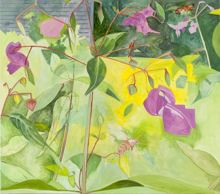 """Magenta Touch-Me-Not,"" oil on linen, 2007, from ""Lois Dodd: Catching the Light."""