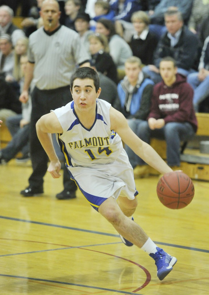 Tom Coyne came off the bench to score nine of his 14 points in the second quarter for Falmouth.