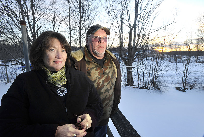 Lee and Mark Duranceau of Saco are concerned that a large horse barn planned for the property adjacent to their home on Louden Road would block their view and diminish the value of their property.