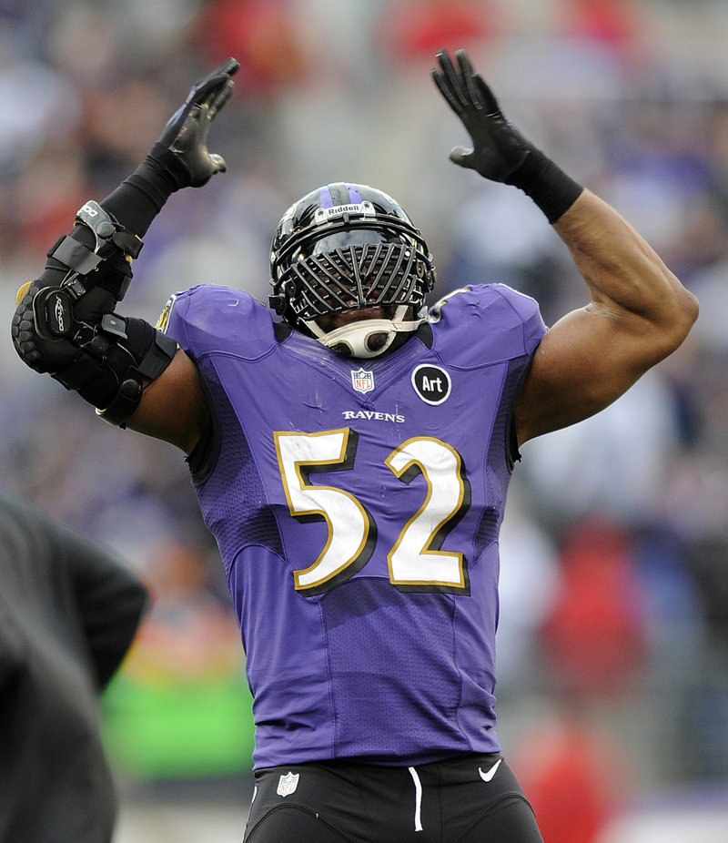 Baltimore's Ray Lewis does his signature dance in the final moments of the Ravens' playoff win over the Colts. Lewis will retire after the season.