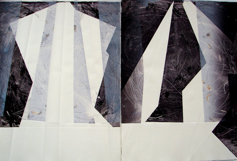 """Karen Adrienne's """"For the Two: Question #1,"""" monotype, 2012."""
