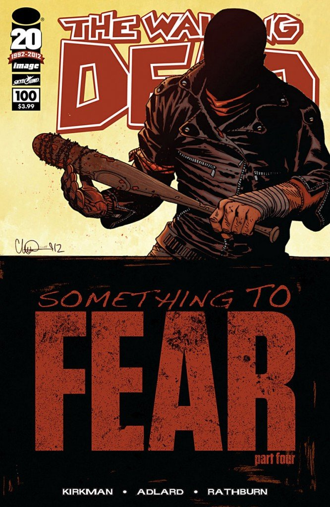 """Issue 100 of """"The Walking Dead"""" series, """"Something to Fear,"""" claimed the spot as 2012's top-selling comic book."""