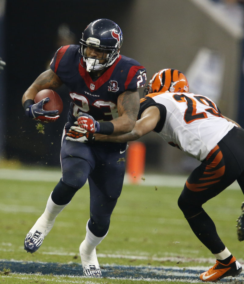 The Associated Press Arian Foster had a big game against the Bengals in last Saturday's playoff win for Houston, running for 140 yards on 32 carries.