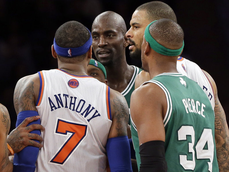 Carmelo Anthony of the Knicks and Kevin Garnett of the Celtics received technicals Monday night for a verbal altercation in the fourth quarter of the Celtics' victory.