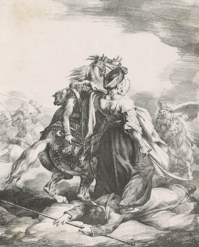 "From ""Printmaking ABC"" at Bowdoin, ""A Mameluke of the Imperial Guard Defending a Wounded Trumpeter from a Cossack,"" by Theodore Gericault, French, 1818 lithograph"