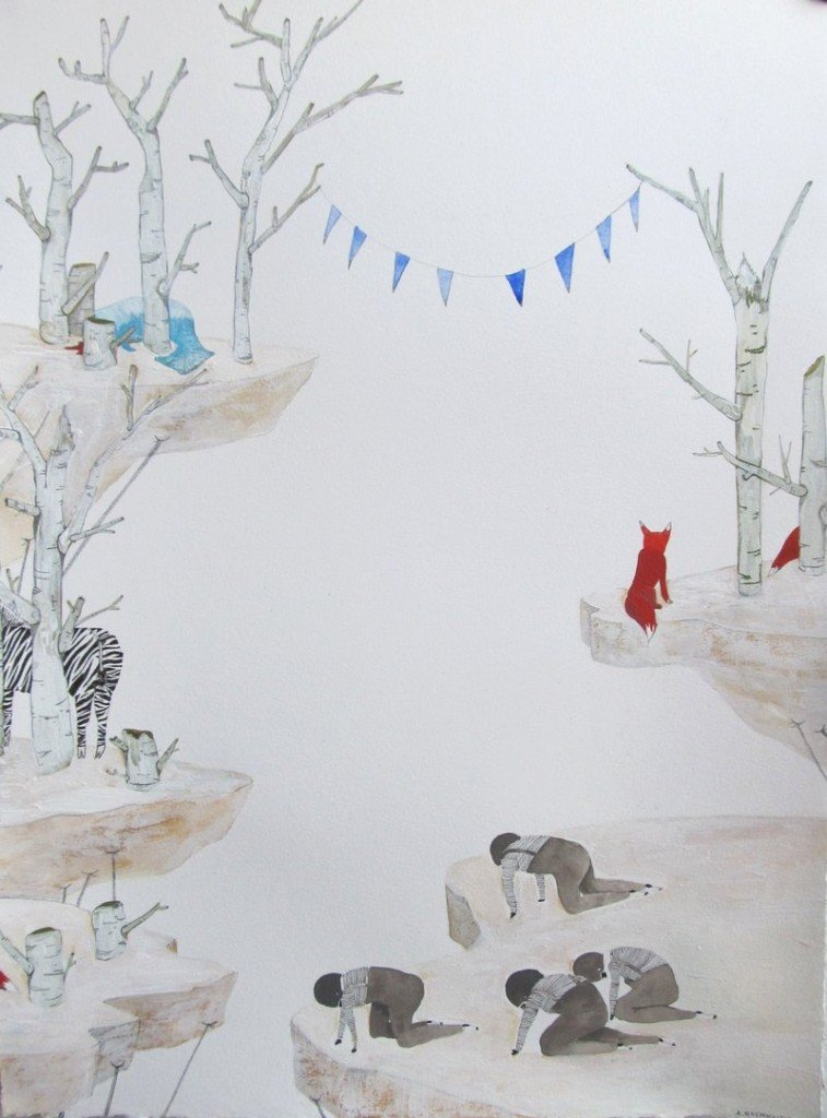 """""""Overlooking the Edge of Earth"""" by Anne Buckwalter of Maine, 2012, gouache and pencil on paper."""