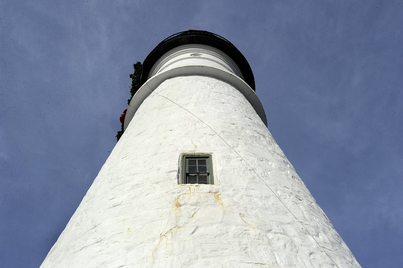 Tuesday, January 8,2013. The stone lighthouse was built by local masons Jonathan Bryant and John Nichols. The original plan was for a 58-foot tower, but when it was realized that the light would be blocked from the south it was decided to make the tower 72 feet in height instead. Bryant resigned over the change, and Nichols finished the lighthouse in January 1791.