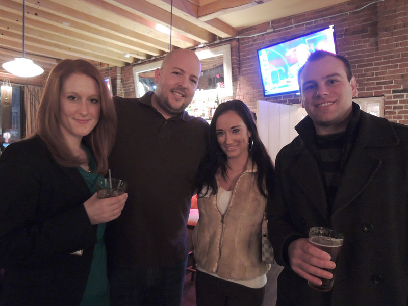 Facebook Maine regulars Gwen Tuttle, a social worker and standup comedian; Nathan O'Leary, owner and CEO of Mainely SEO; Lila Hunt, the newest Mainely SEO employee; and Seth Storey, a web strategist with Ibec Creative attend the mixer held recently at Spread in Portland.