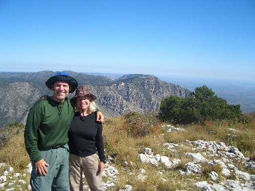 Jeff and Andi Bartlett at Guadalupe Peak, elevation 8,749 feet, in Texas in 2008. The couple scaled many mountains.