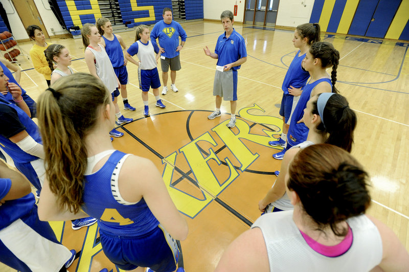 "Paul True, Lake Region's girls' basketball coach, is also the athletic director. When hiring a coach, he says, he looks for ""a good person, honest and genuine."""