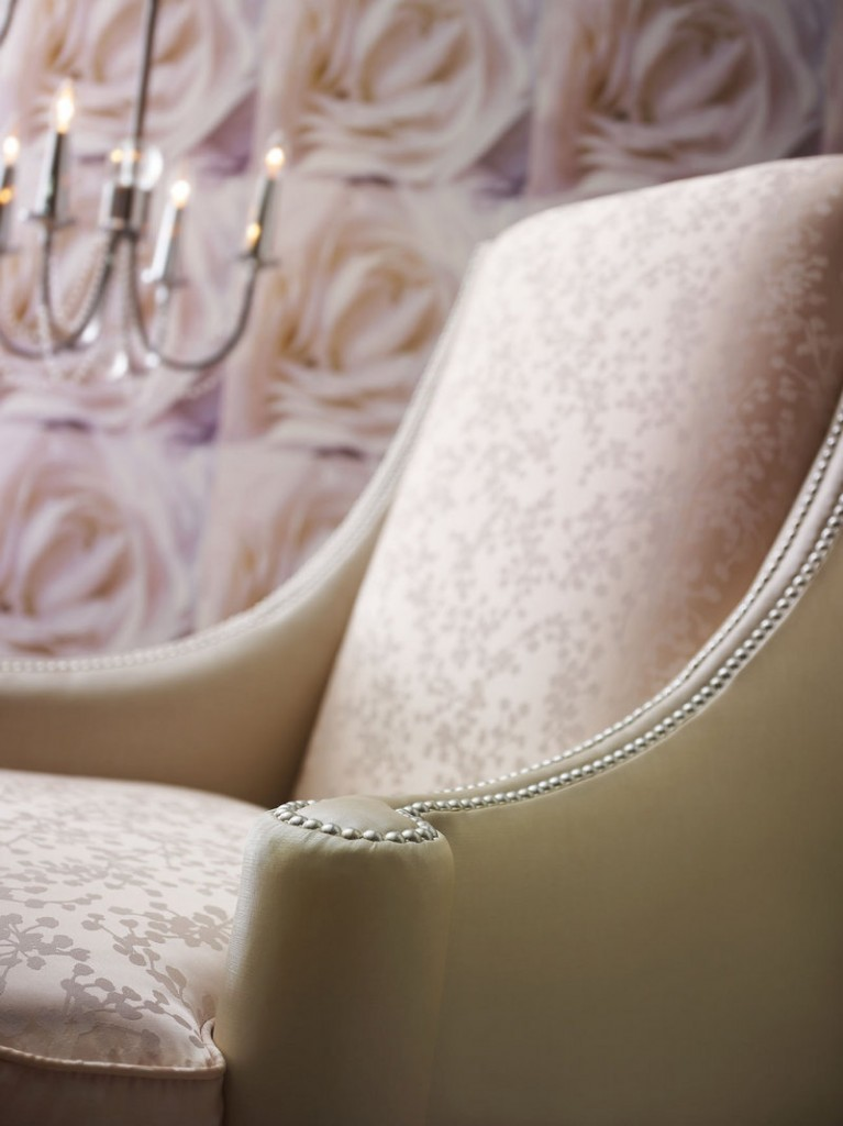 Shimmery fabrics and finishes are in vogue now, adding a bit of glamour to everyday environs. This Sloane chair is from the Candice Olson furniture collection created for Highland House.