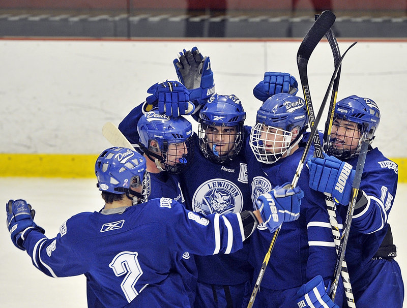 Lewiston got its first chance to celebrate after Kyle Lemelin scored the first goal of the game on a power play with 1:38 remaining in the first period.