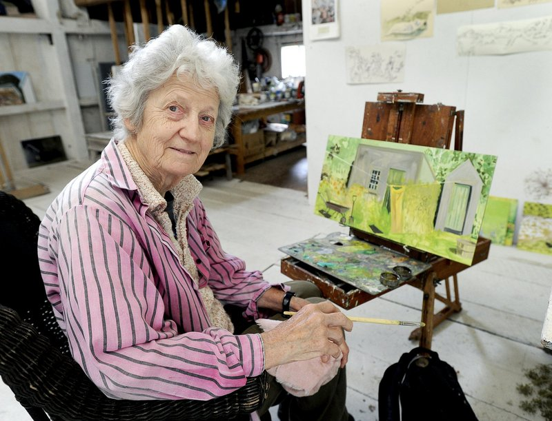 Artist Lois Dodd at her studio in Cushing.