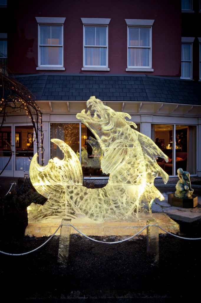 An ice sculpture in the shape of a fish graced last year's Portland Harbor Hotel Ice Bar.