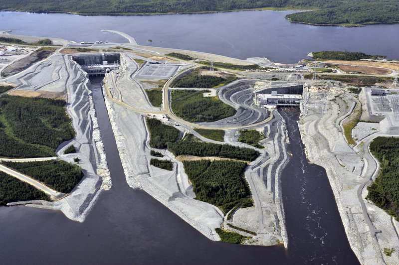 Aerial views show the powerhouses from Hydro-Quebec's Eastmain-1-A and Eastmain-1 hydroelectric stations near James Bay.