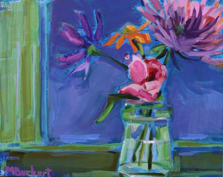 """""""Pink Rose"""" by Martha Burkert, from """"Despite Winter, Gardens"""" at Elizabeth Moss Galleries in Falmouth."""