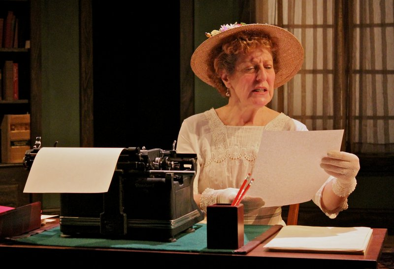 "Dixie Weisman as the jealous wife of author Franklin Woolsey, played by Dwight Burris, in Heartwood Regional Theater Company's one-act ""Ghost-Writer."""
