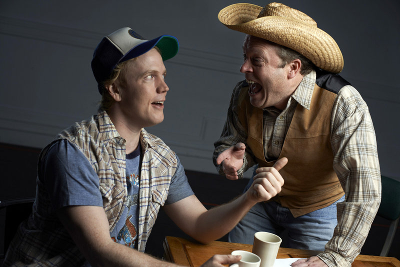 "Dustin Tucker, left, and Tom Ford in character as Arles Struvie and Thurston Wheelis, hosts of a small-town Texas radio show in ""Greater Tuna."""