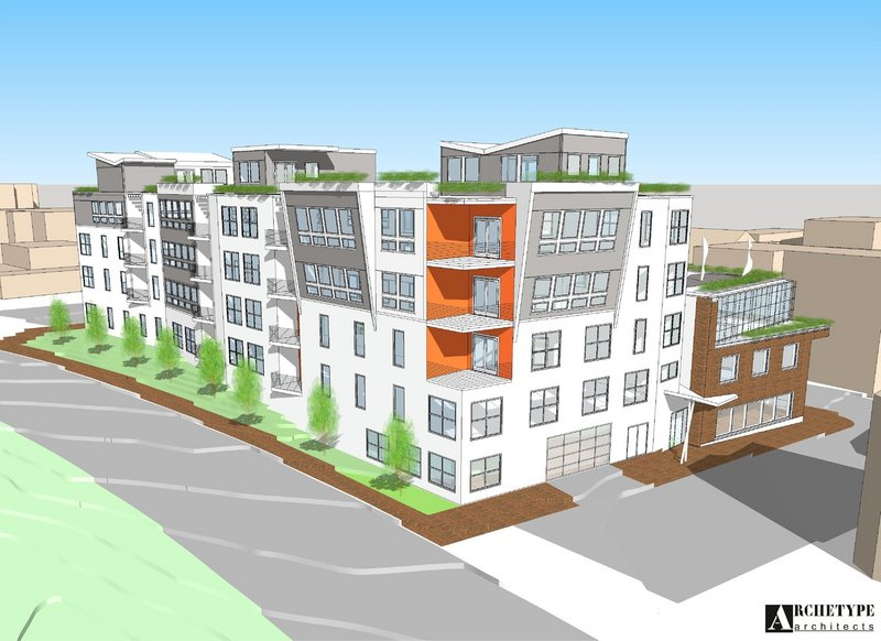 An architectural rendering depicts the proposed Newbury Lofts condos along Franklin, Hampshire and Newbury streets.